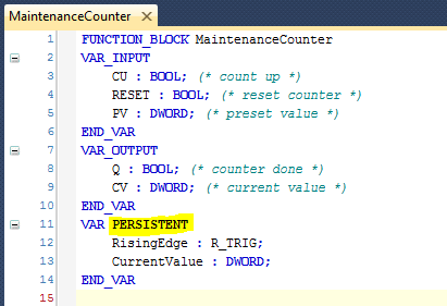 06 MaintenanceCounter with Persistent Variables