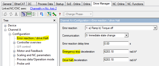 10 Drive Error Reaction