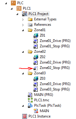 Conveyor Zones with Drive and Stop Programs - one grayed out