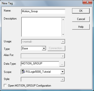 RSLogix 5000 - Create Axis - New Group Tag