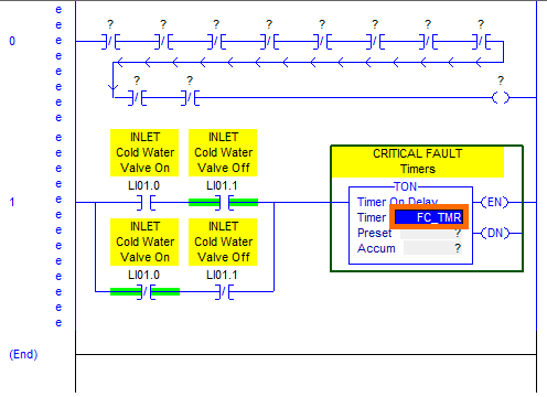 Create Fault Logic · Contact and Coil