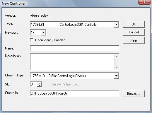 RSLogix 5000 - New Controller Dialog