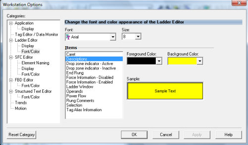 RSLogix 5000 - Customizing the Editor - Descriptions