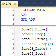 MAIN Program calling Drive and Stop Programs - one commented out