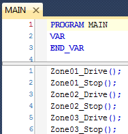 MAIN Program calling Drive and Stop Programs