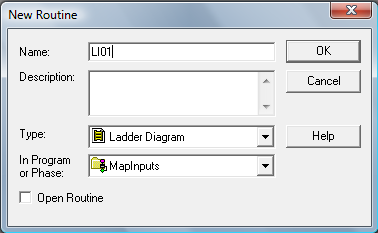RSLogix 5000 Tutorial - MapInputs - New Routine: LI01