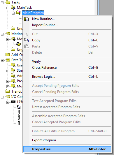 RSLogix 5000 - Rename MainProgram