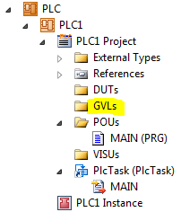 TwinCAT 3: Solution Explorer with GVLs folder highlighted