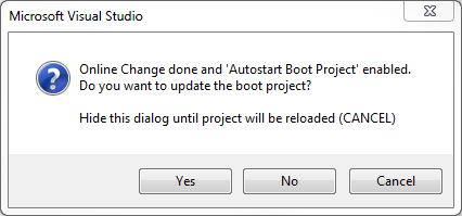 TwinCAT 3: Update boot project dialog