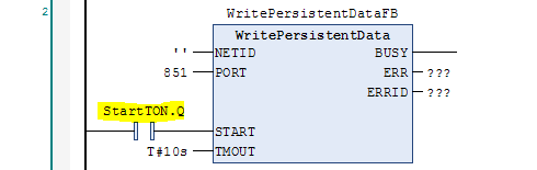 WritePersistentData function block with StartTON at START input