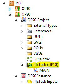 18 OP20 Project PlcTask node highlighted