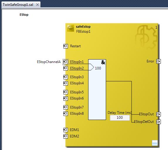 27 safeEstop function block with EStopIn1 configured
