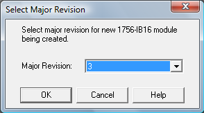 RSLogix 5000 - Select Major Revision Dialog