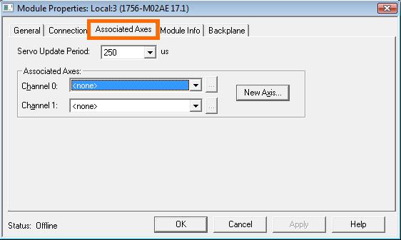 RSLogix 5000 - Create Axis - Associated Axes