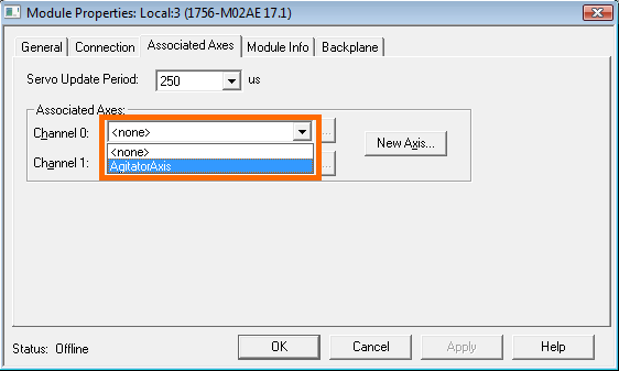 RSLogix 5000 - Create Axis - Assign Channel 0