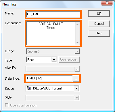 RSLogix 5000 Tutorial - New Timer Tag Array - Fields