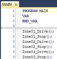 MAIN Program calling Drive and Stop Programs