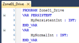 Persistent variable in program