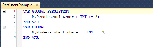 Persistent Example With Persistent Variable
