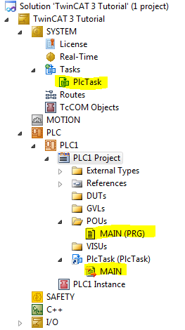 TwinCAT 3: Solution Explorer with MAIN and PlcTask shown