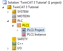 Solution Explorer with PLC1 Project Added