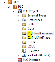 Solution Explorer with folders numbered