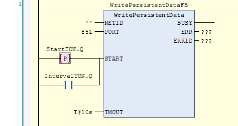 WritePersistentData function block with StartTON as rising edge