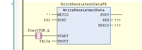 WritePersistentData function block with StartTON contact selected