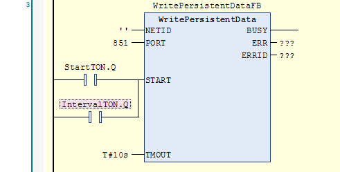WritePersistentData function block with StartTON or IntervalTON at START input